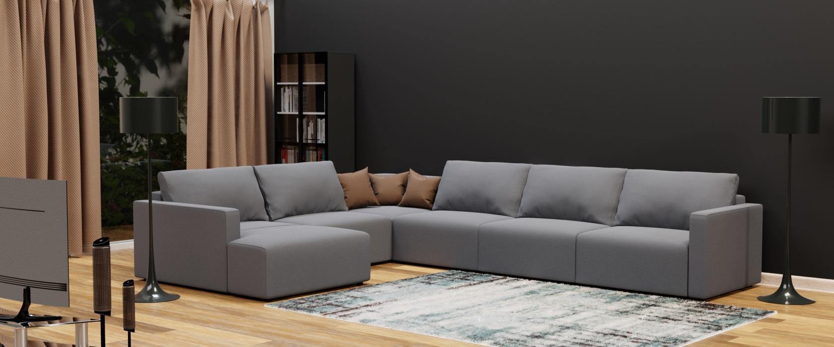Модульний диван Greta з отоманкою 417x317 - Фото 2 - Pufetto