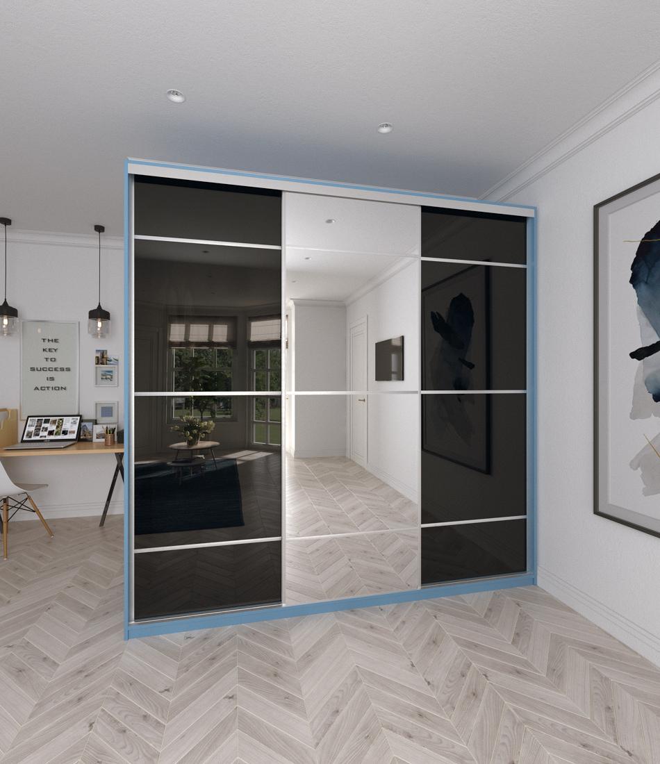 Шкаф-купе Arino 3х дверный с 2мя разделенными стеклянными фасадами и разделенным зеркалом - Фото 2 - Pufetto