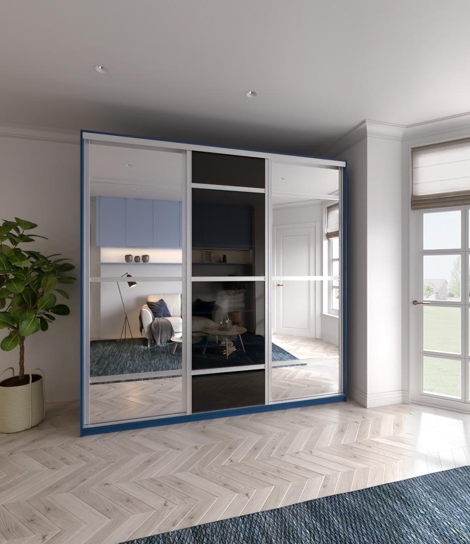 Шкаф-купе Arino 3х дверный с 2мя разделенными зеркальными фасадами и разделенным стеклом - Фото 2 - Pufetto