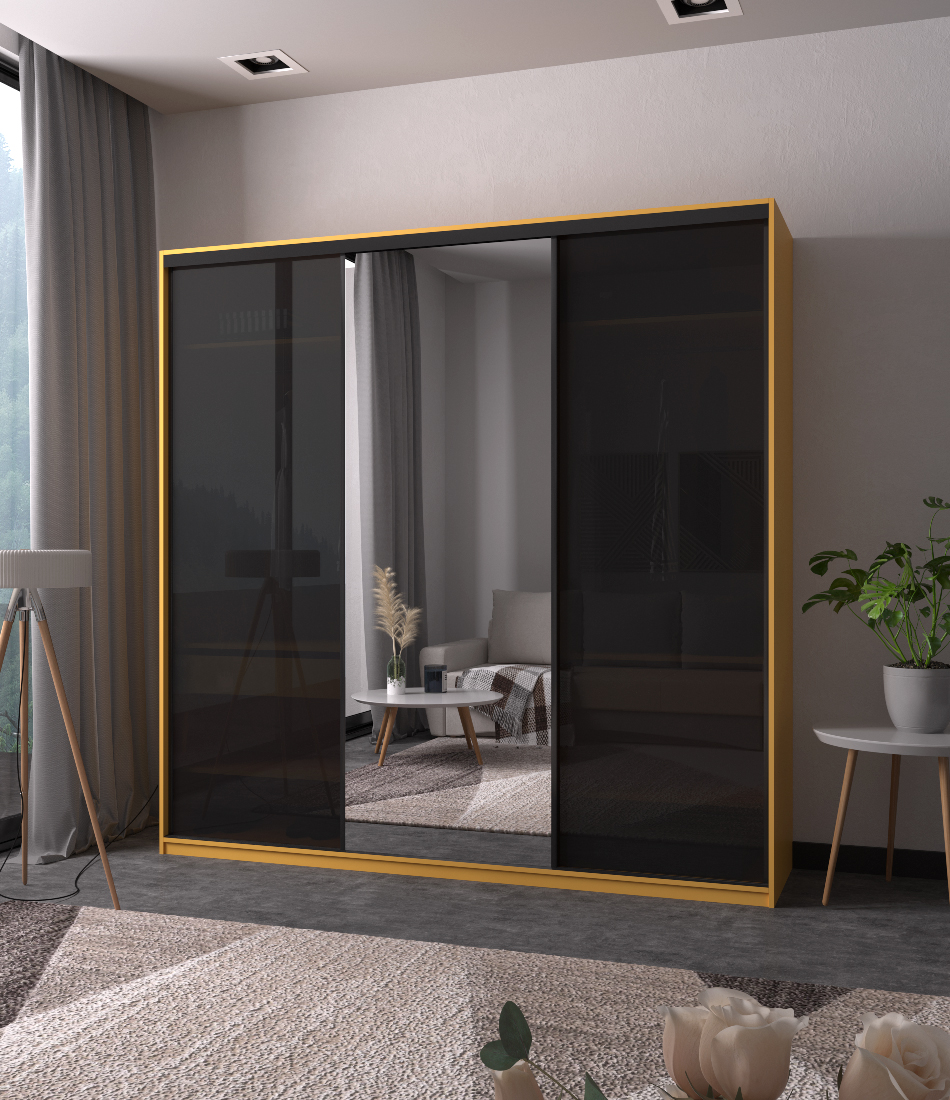 Шкаф-купе Arino 3х дверный с 2мя цельными стеклянными фасадами и зеркалом - Фото 2 - Pufetto