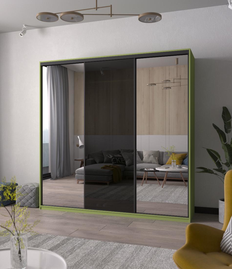 Шкаф-купе Arino 3х дверный с 2мя цельными зеркальными фасадами и стеклом - Фото 2 - Pufetto