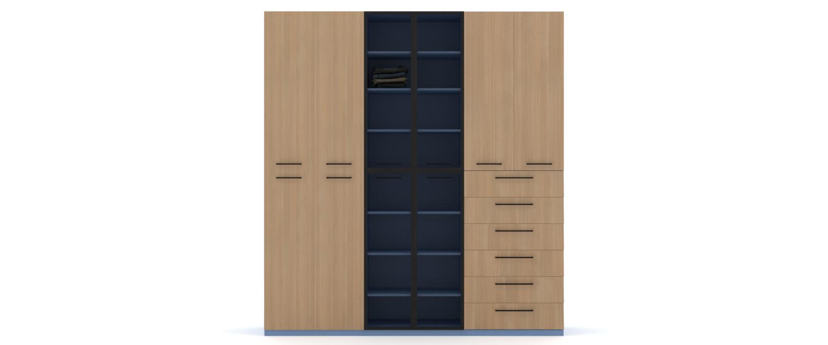 Шкаф Arino 3 модуля с комбинированными фасадами - Pufetto