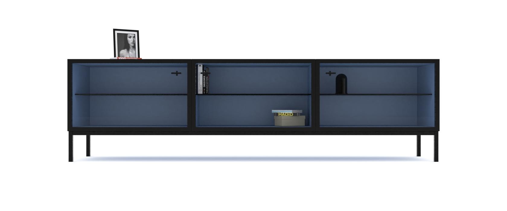 Тумба під медіа Rollini з 3 скляними фасадами - Pufetto