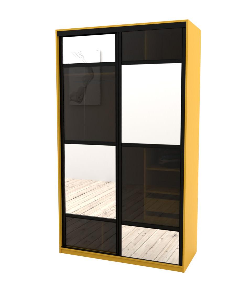 Шкаф-купе Arino 2х дверный с разделенными зеркальными фасадами и стеклянной вставкой в шахматном порядке - Pufetto