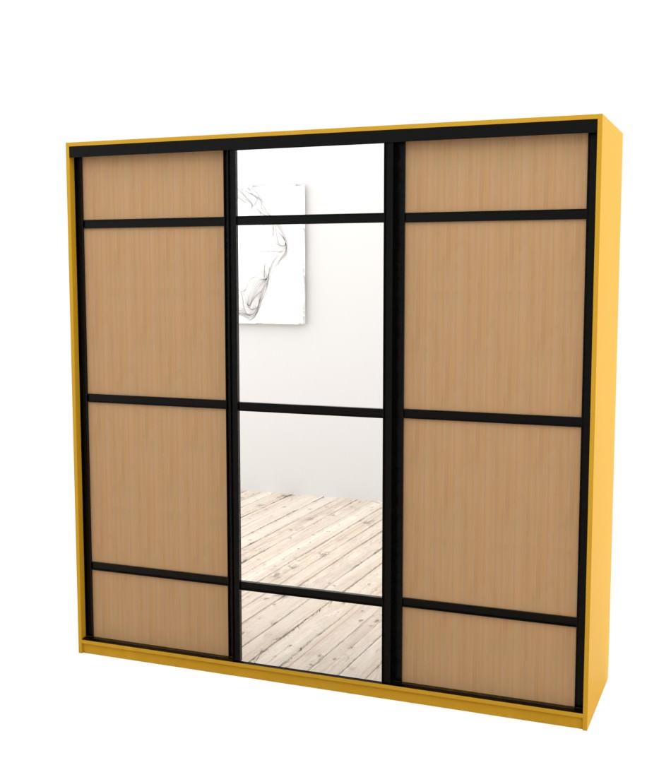 Шкаф-купе Arino 3х дверный с 2мя разделенными фасадами и разделенным зеркалом - Pufetto