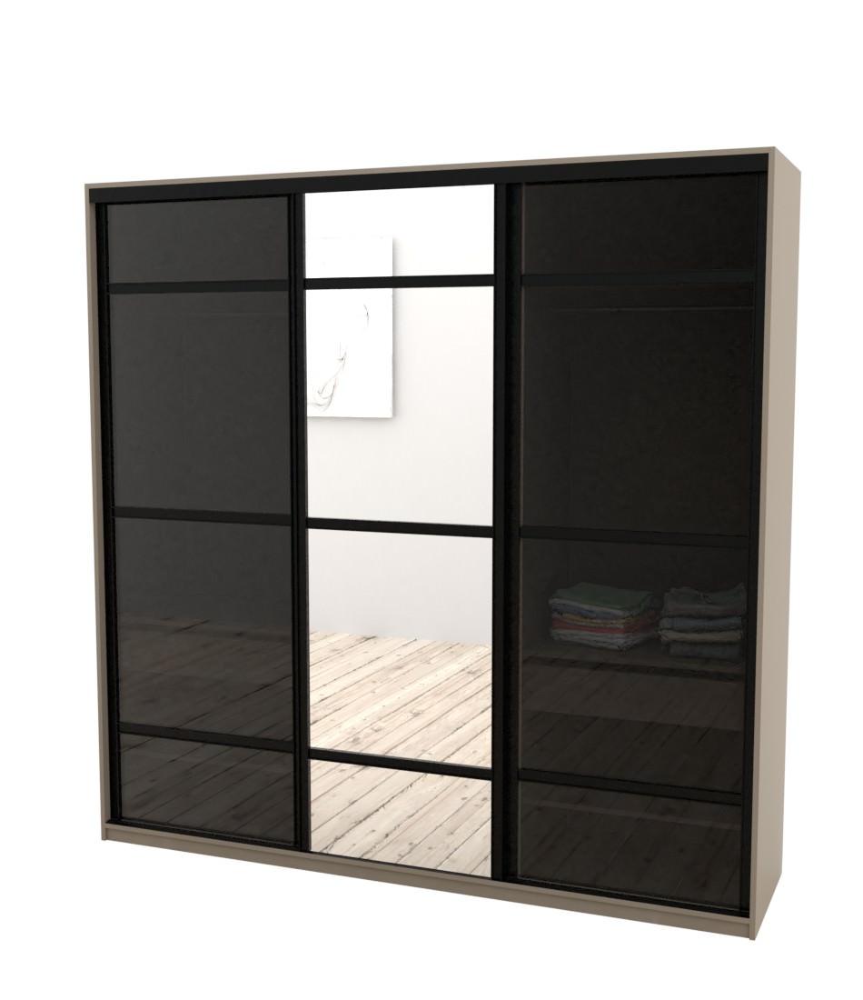 Шкаф-купе Arino 3х дверный с 2мя разделенными стеклянными фасадами и разделенным зеркалом - Pufetto