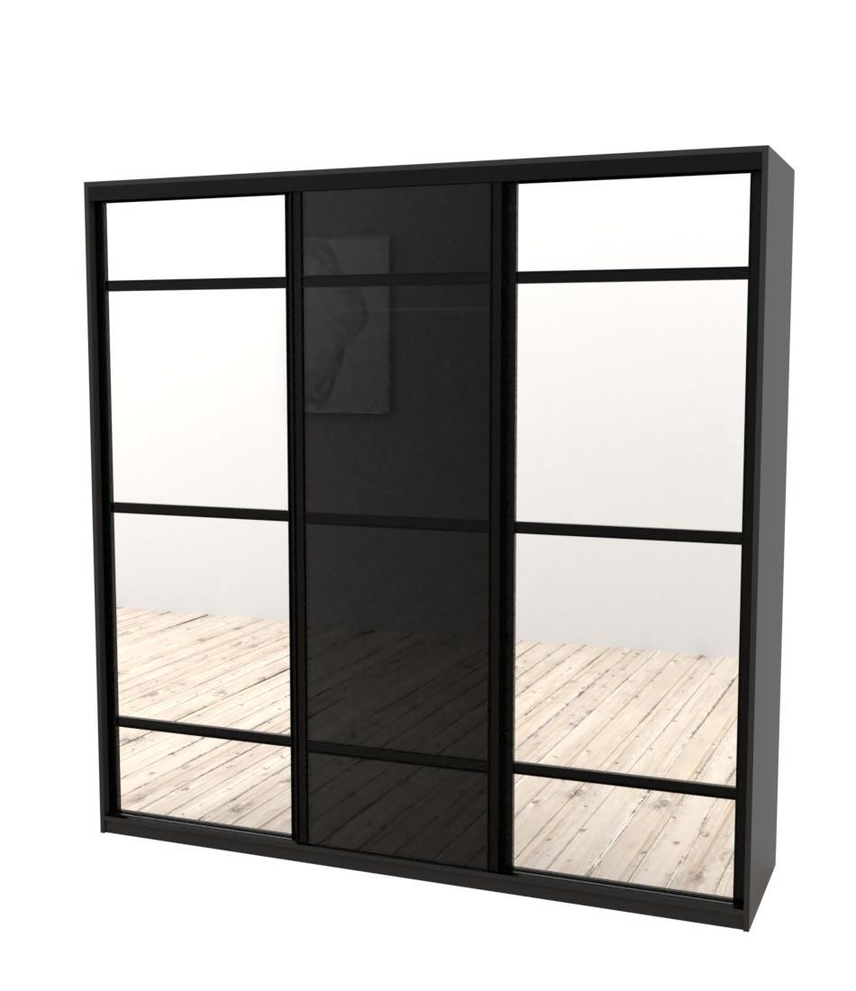 Шкаф-купе Arino 3х дверный с 2мя разделенными зеркальными фасадами и разделенным стеклом - Pufetto