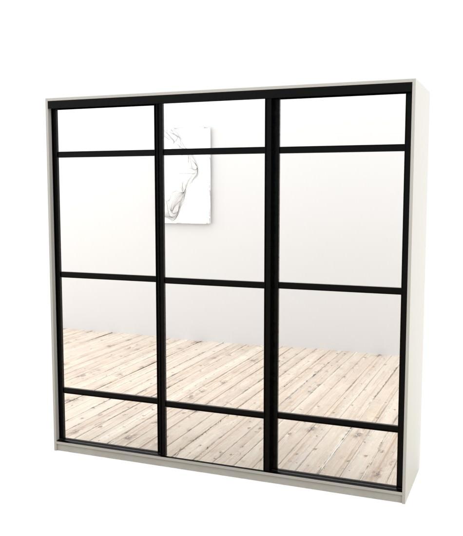 Шкаф-купе Arino 3х дверный с разделенными зеркальными фасадами - Pufetto