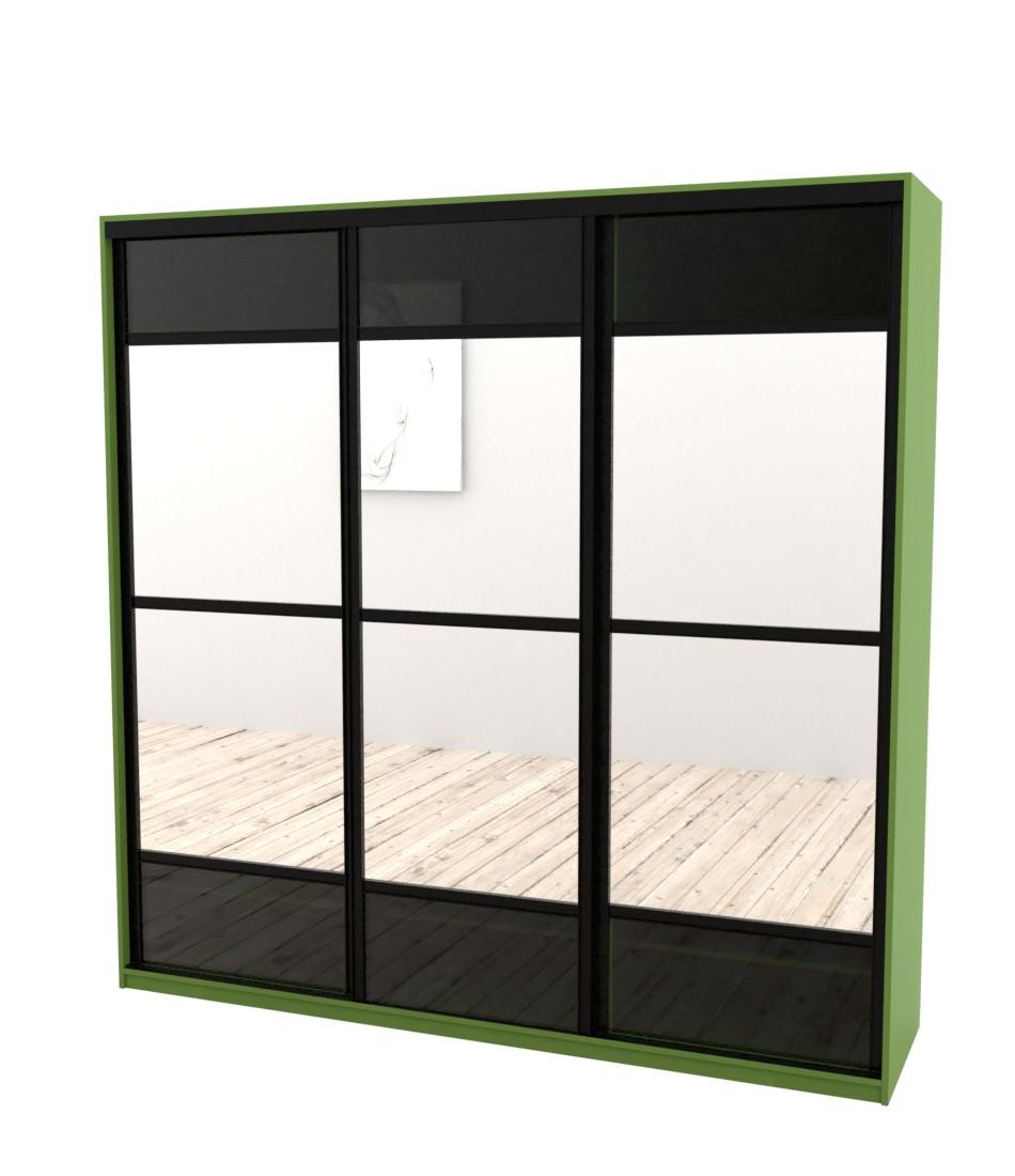 Шкаф-купе Arino 3х дверный с разделенными зеркальными фасадами и вставкой из стекла - Pufetto