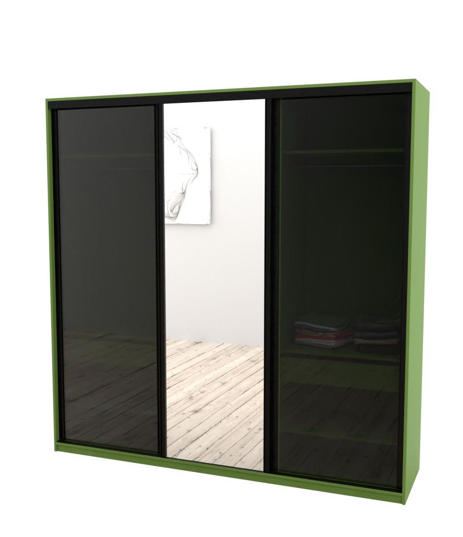 Шкаф-купе Arino 3х дверный с 2мя цельными стеклянными фасадами и зеркалом - Pufetto