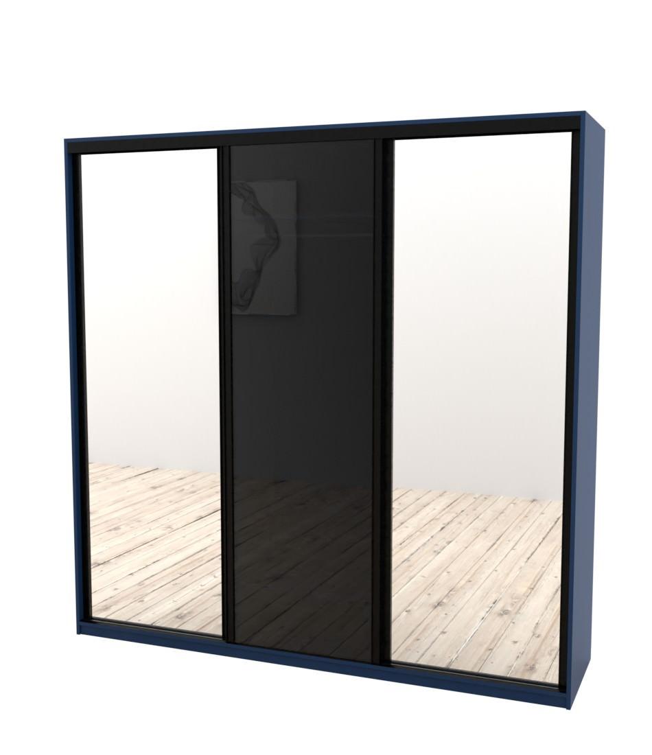 Шкаф-купе Arino 3х дверный с 2мя цельными зеркальными фасадами и стеклом - Pufetto