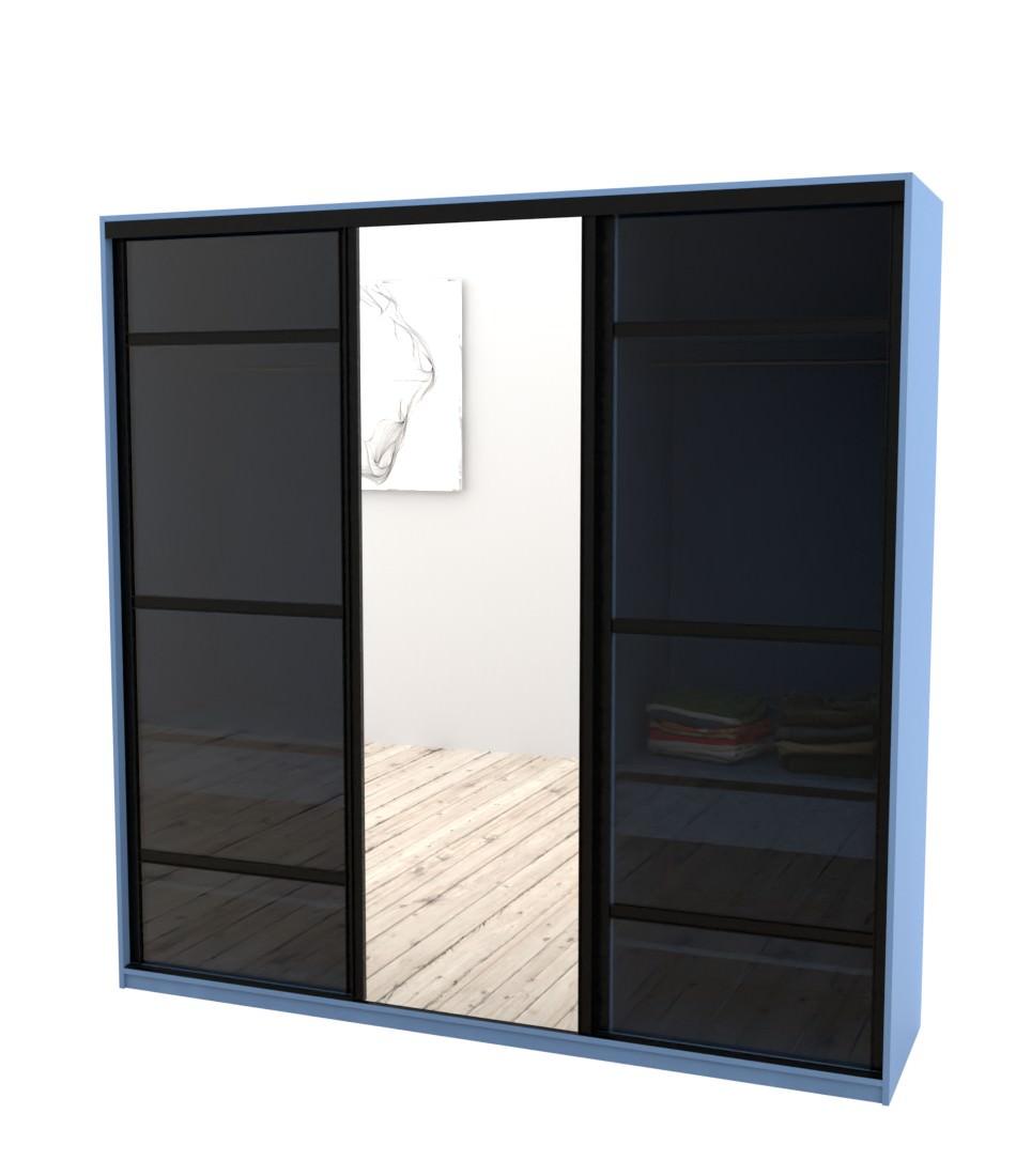 Шкаф-купе Arino 3х дверный с 2мя разделенными стеклянными фасадами и зеркалом - Pufetto