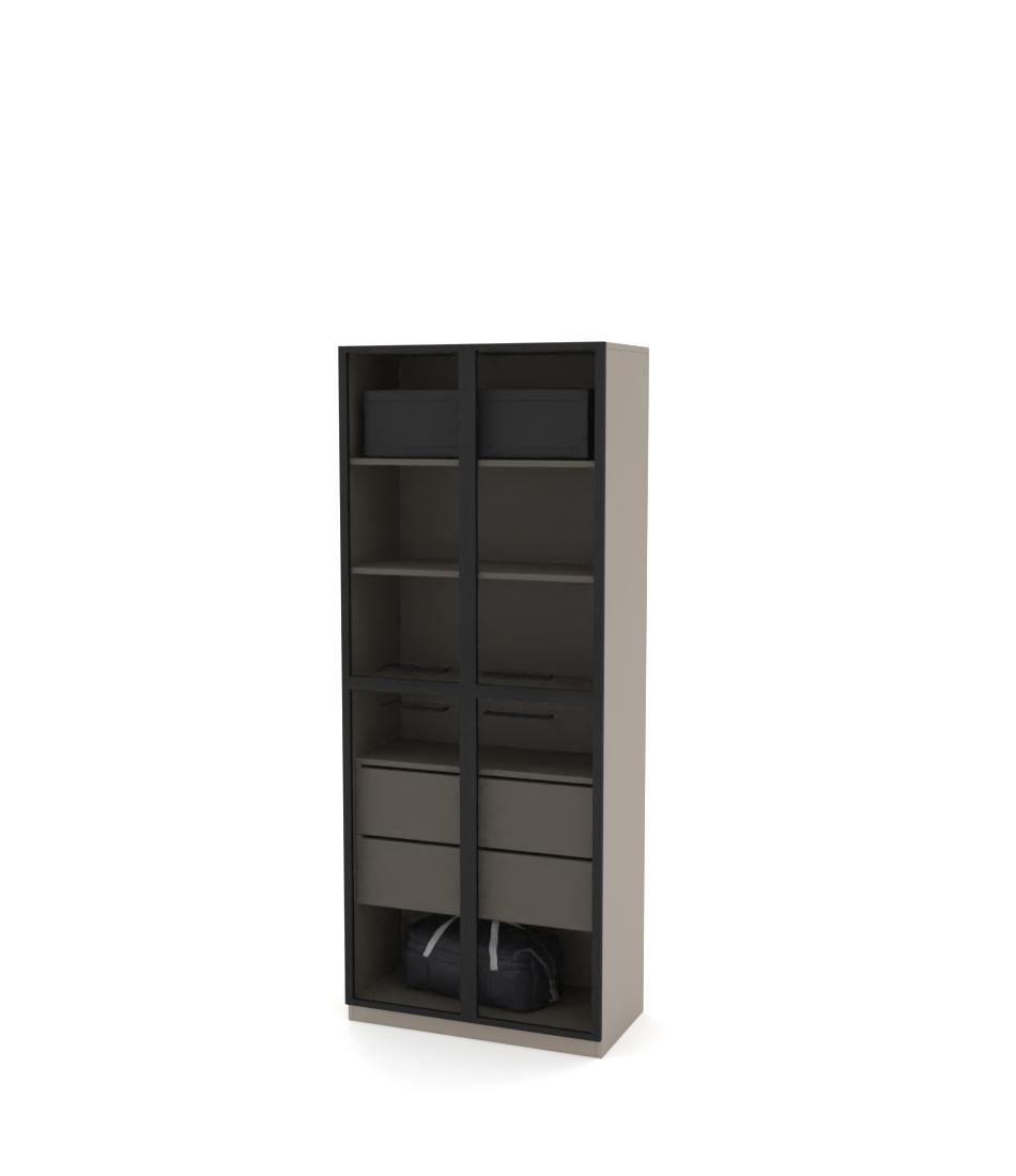 Шкаф Arino модуль с разделенными горизонтально стеклянными фасадами