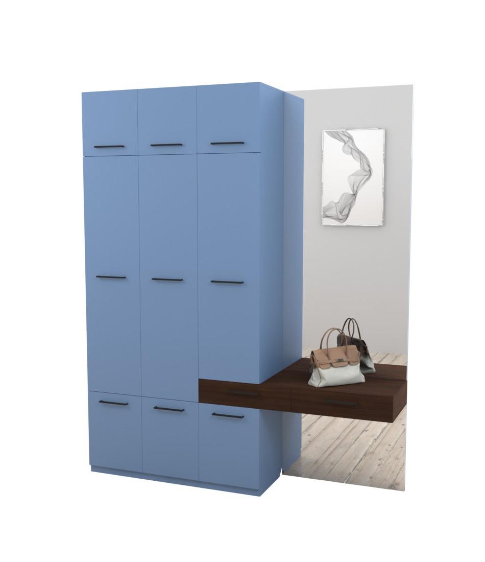 Прихожая Arino c модулем шкафа тумбой и зеркалом - Pufetto