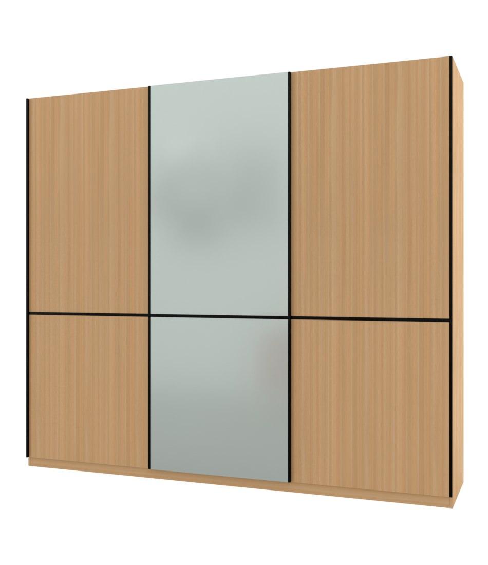Шкаф-купе Bellissimo 3х дверный с разделенными фасадами и стеклом - Pufetto