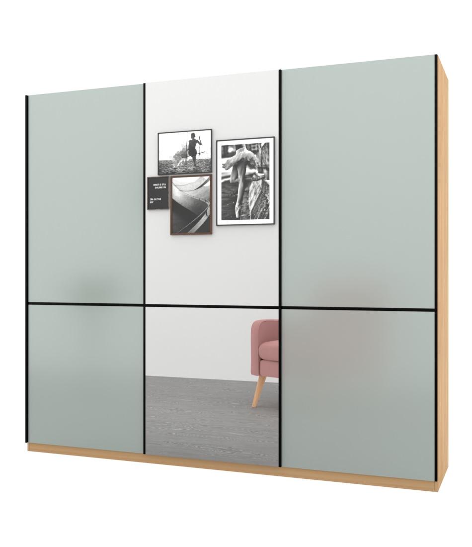 Шкаф-купе Bellissimo 3х дверный с разделенными фасадами стекла и зеркалом - Pufetto