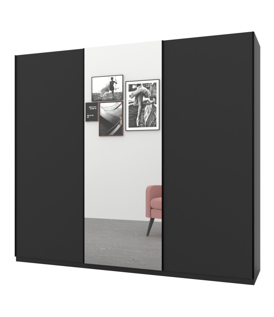 Шкаф-купе Bellissimo 3х дверный с цельными фасадами и зеркалом - Pufetto