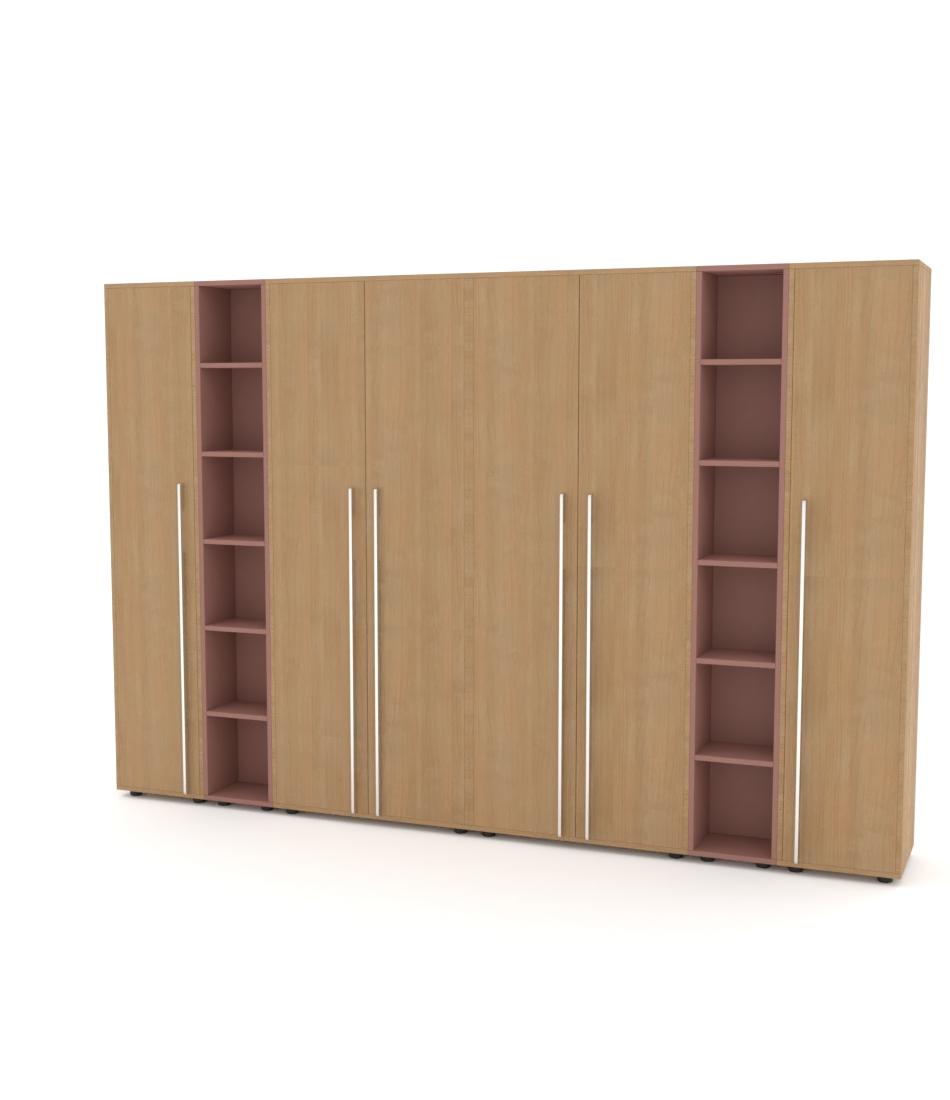 Шкаф Merini 2 модуля с цельными фасадами, 2 модуля полочек и 2 пенала