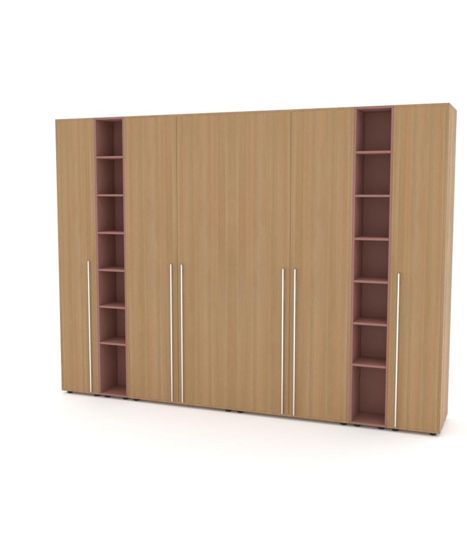 Шкаф Merini 2 модуля с цельными фасадами, 2 модуля полочек и 2 пенала - Pufetto