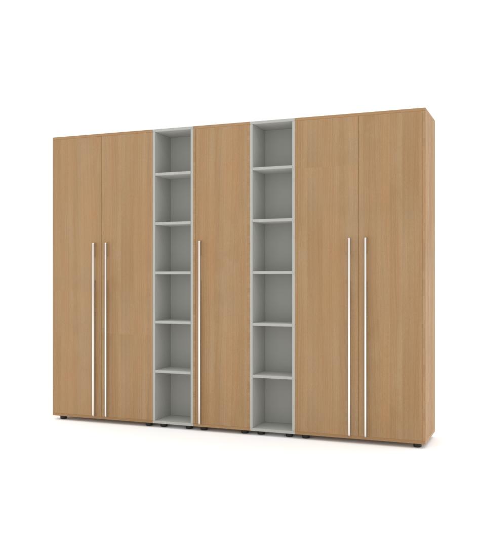 Шкаф Merini 2 модуля с цельными фасадами, 2 модулями разноуровневых полочек и пеналом