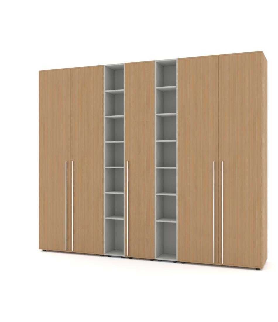 Шкаф Merini 2 модуля с цельными фасадами, 2 модулями разноуровневых полочек и пеналом - Pufetto