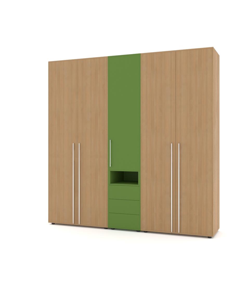 Шкаф Merini 2 модуля с цельными фасадами, пенал и модуль с ящиками - Pufetto