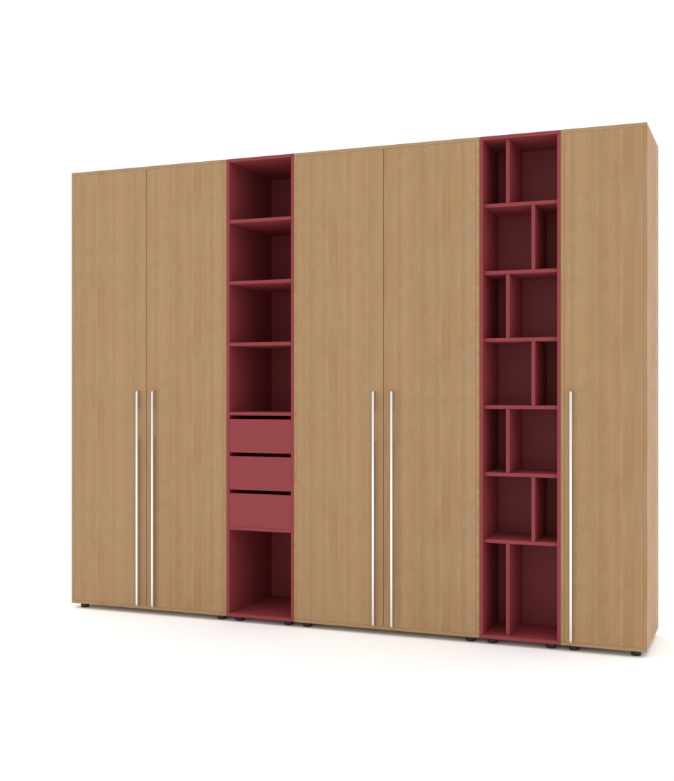 Шкаф Merini 4 модуля с цельными фасадами, модулем полочек и ящиков и модулем разноуровневых полочек - Pufetto