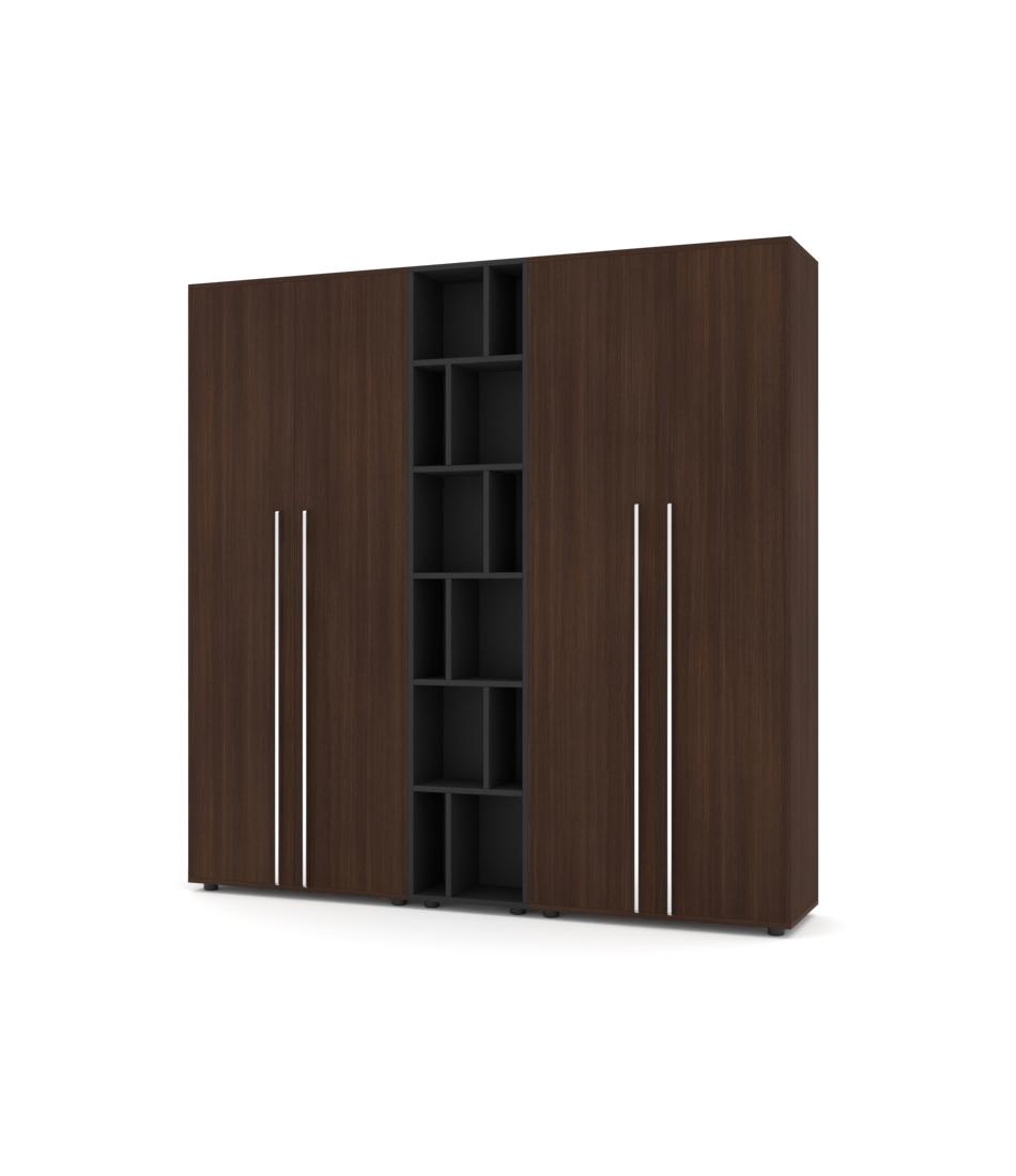 Шкаф Merini 2 модуля с цельными фасадами и модулем разноуровневых хаотичных полочек