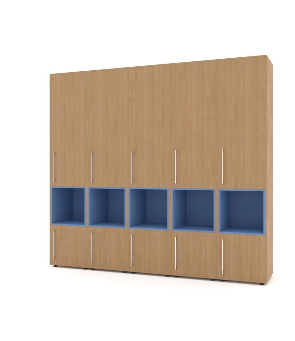 Шкаф Merini 5 модулей с разделенными горизонтально фасадами и нишами - Pufetto